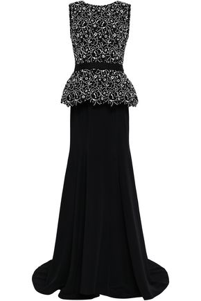 OSCAR DE LA RENTA Layered cotton-blend guipure lace and crepe gown