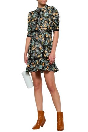 W118 by WALTER BAKER Crochet-trimmed printed crepe mini dress
