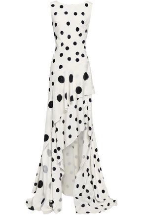 OSCAR DE LA RENTA Asymmetric tiered polka-dot silk gown