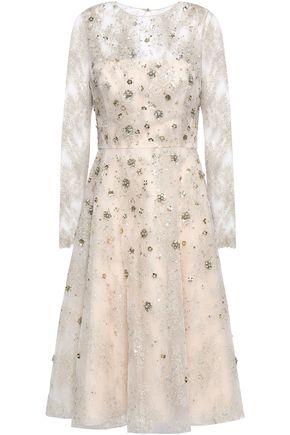 OSCAR DE LA RENTA Flared embellished tulle midi dress