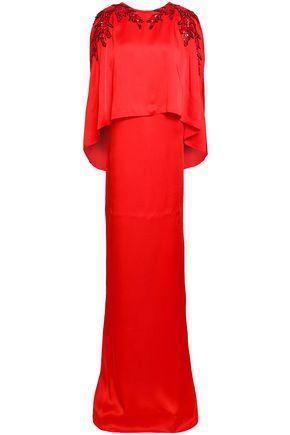 OSCAR DE LA RENTA ケープ風 装飾付き サテンクレープ ロングドレス