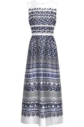 OSCAR DE LA RENTA Flared printed silk and cotton-blend twill gown