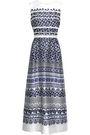OSCAR DE LA RENTA Flared printed silk and cotton-blend twill gown