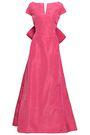 OSCAR DE LA RENTA Bow-embellished flared silk-faille gown