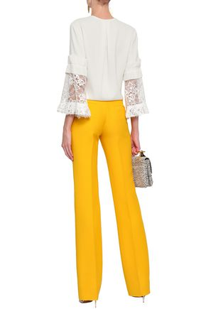 OSCAR DE LA RENTA Lace-trimmed pleated silk-blend blouse