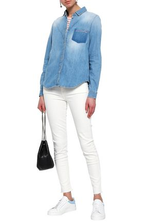 7 FOR ALL MANKIND Embroidered faded denim shirt