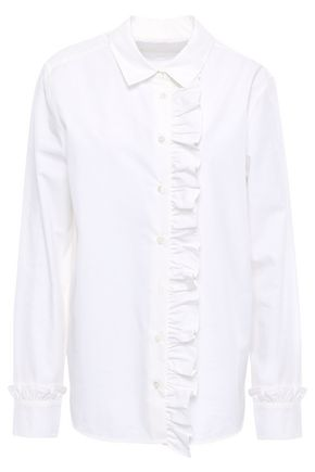 EQUIPMENT Ruffle-trimmed cotton-poplin shirt