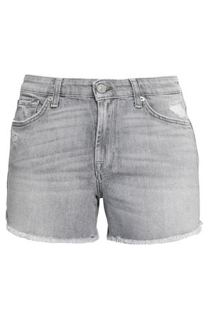 7 FOR ALL MANKIND Distressed faded denim shorts