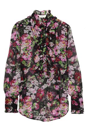 EQUIPMENT Ruffle-trimmed floral-print silk-chiffon blouse