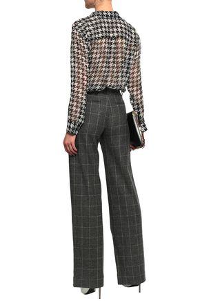 EQUIPMENT Daddy houndstooth silk-chiffon shirt