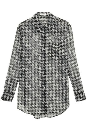 EQUIPMENT Daddy houndstooth silk-chiffon shirt