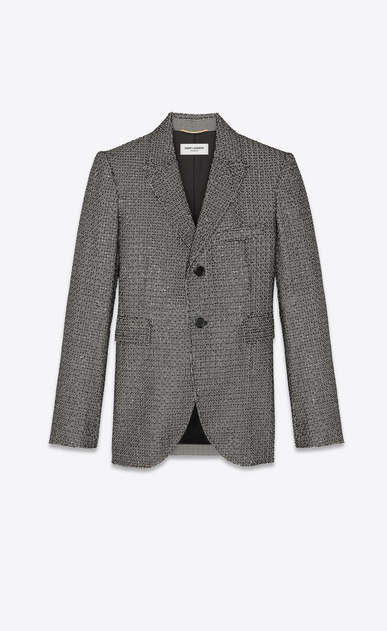 Allover houndstooth-pattern blazer embroidered with beads and sequins