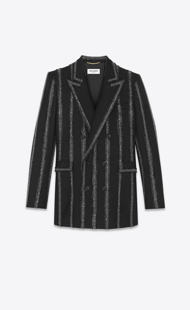 Double breasted blazer in gabardine with wide embroidered stripes