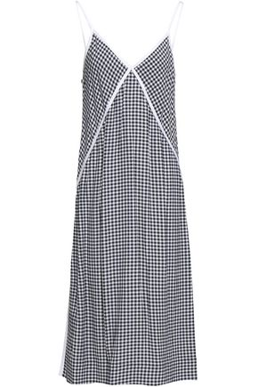 RAG & BONE Gingham crepe midi slip dress