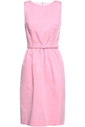 OSCAR DE LA RENTA Belted stretch-cotton twill dress