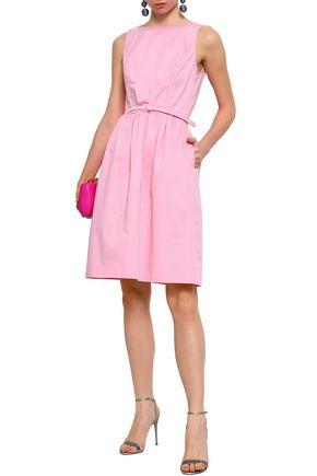OSCAR DE LA RENTA Belted stretch-cotton twill dress