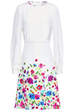 OSCAR DE LA RENTA Pintucked floral-print silk dress