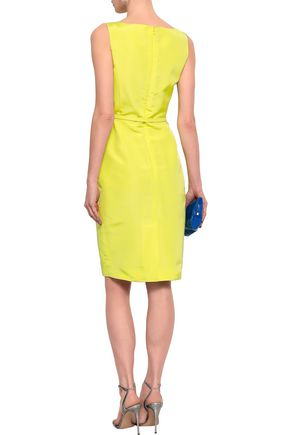 OSCAR DE LA RENTA Belted pleated silk-faille dress