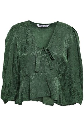 W118 by WALTER BAKER Bow-detailed jacquard blouse