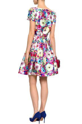OSCAR DE LA RENTA Flared floral-print silk and cotton-blend twill mini dress
