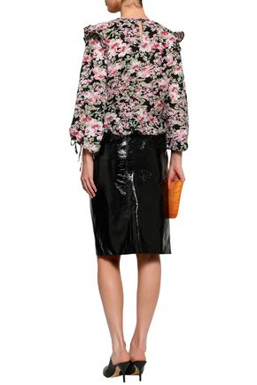 W118 by WALTER BAKER Cropped floral-print crepe top