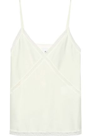IRIS & INK Pearl lace-trimmed washed-crepe tank