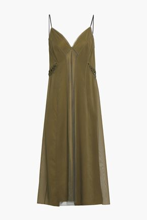 RAG & BONE Paneled stretch-silk mesh and chiffon midi dress