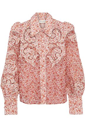 ZIMMERMANN Embroidered floral-print linen shirt