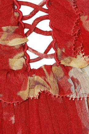 ZIMMERMANN Corsair Iris cropped lace-up floral-print silk-georgette jumpsuit