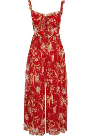 ZIMMERMANN Corsair Iris lace-up cropped floral-print silk-georgette jumpsuit