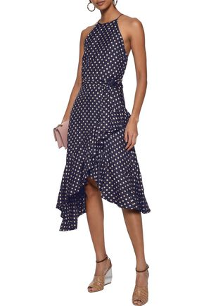 ZIMMERMANN Asymmetric ruffle-trimmed polka-dot satin-twill midi dress