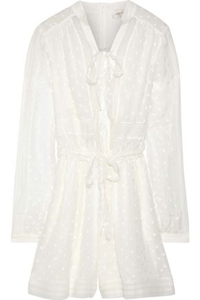 ZIMMERMANN Bow-detailed lace-trimmed fil coupé georgette playsuit