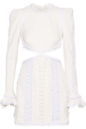 ZIMMERMANN Lace-up cutout embellished canvas mini dress