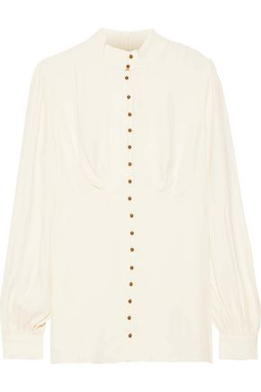ZIMMERMANN Gathered crepe shirt