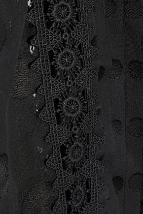 ZIMMERMANN Satin and crochet-trimmed polka-dot chiffon mini dress