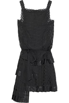 ZIMMERMANN Satin and crochet-trimmed polka-dot chiffon mini dress