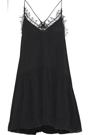 IRO Enes lace-trimmed crepe de chine mini slip dress