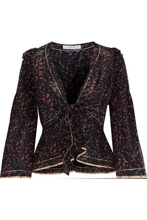 IRO Jarley knotted printed silk crepe de chine blouse