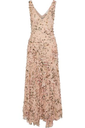 ZIMMERMANN Appliquéd floral-print silk-georgette maxi dress