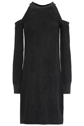 RAG & BONE Dana cold-shoulder ribbed-knit cotton mini dress