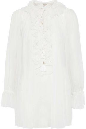 ZIMMERMANN Ruffled gathered silk-georgette blouse