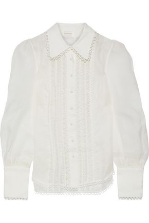 ZIMMERMANN Linen and silk-blend organza shirt