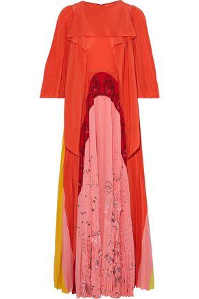 VALENTINO Draped printed crepe de chine maxi dress