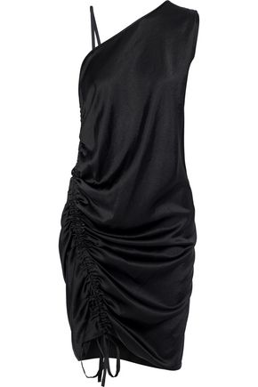 T by ALEXANDER WANG Asymmetric ruched satin dress
