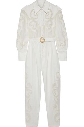 ZIMMERMANN Belted embroidered organza-paneled linen jumpsuit