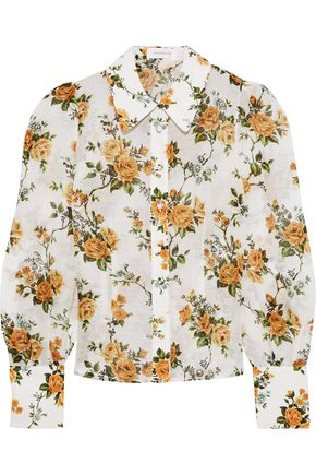 ZIMMERMANN Floral-print linen and silk-blend shirt