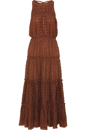 MISSONI Tiered metallic bouclé-knit midi dress