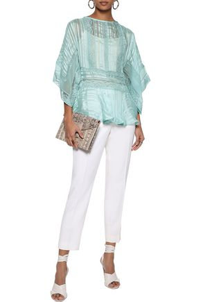 ZIMMERMANN Lace-trimmed striped silk-chiffon peplum blouse