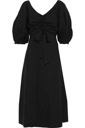 ZIMMERMANN Bow-detailed ruched linen midi dress