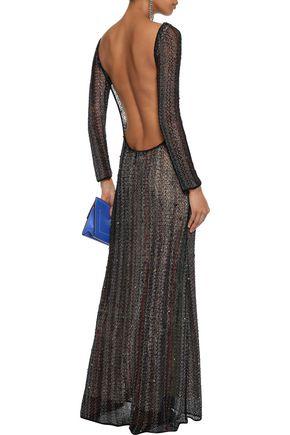 MISSONI Open-back bead-embellished cotton-blend crochet-knit gown